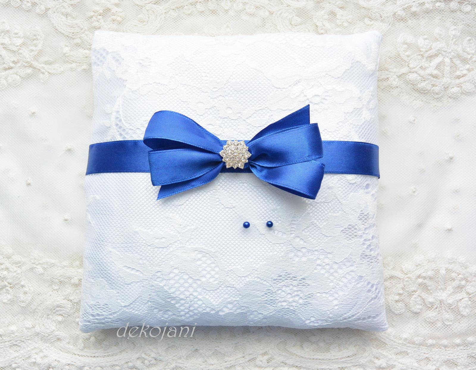 Modrý svatební polštářek - Obrázek č. 1