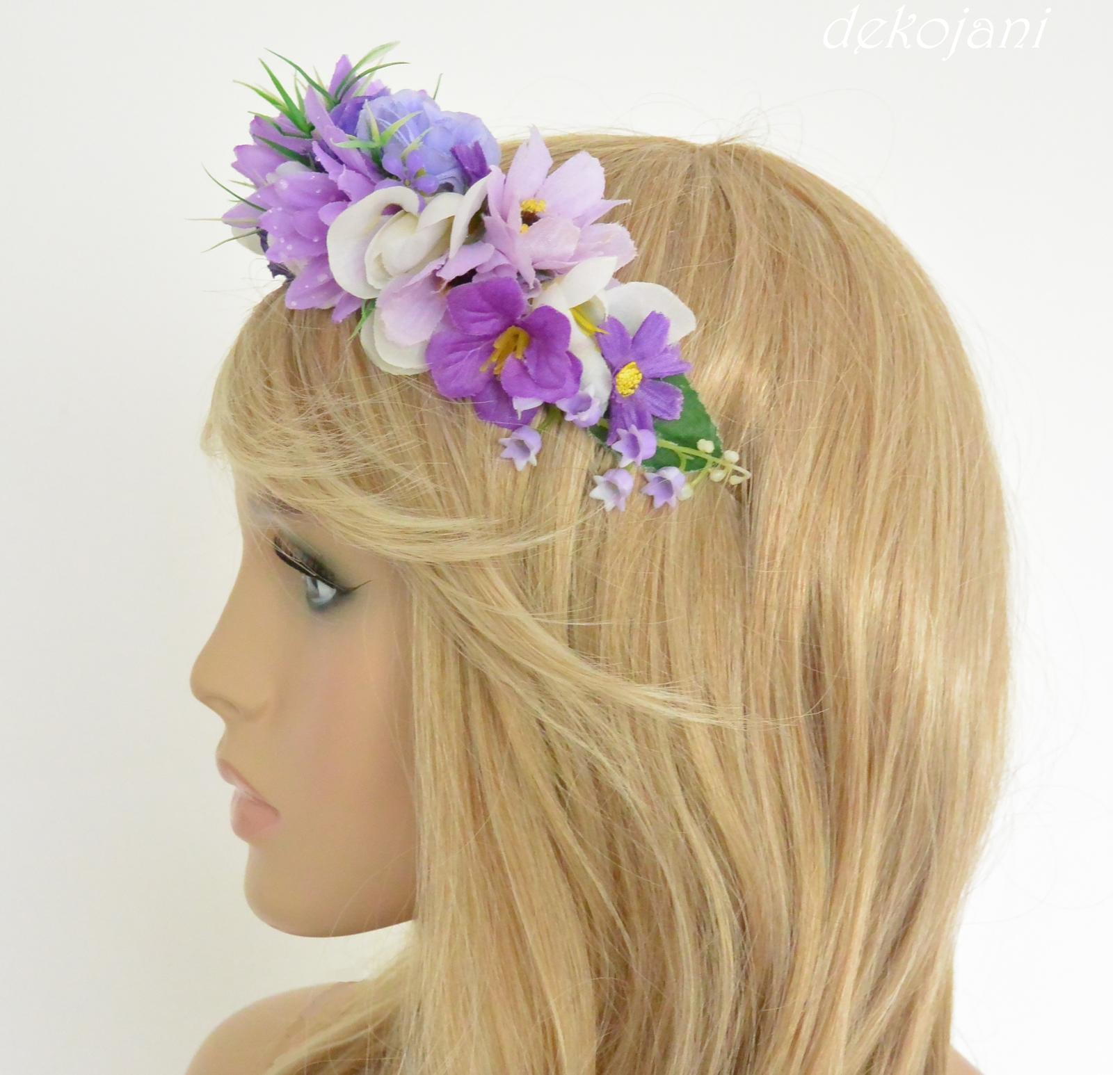 Fialová květinová svatební čelenka - Obrázek č. 3