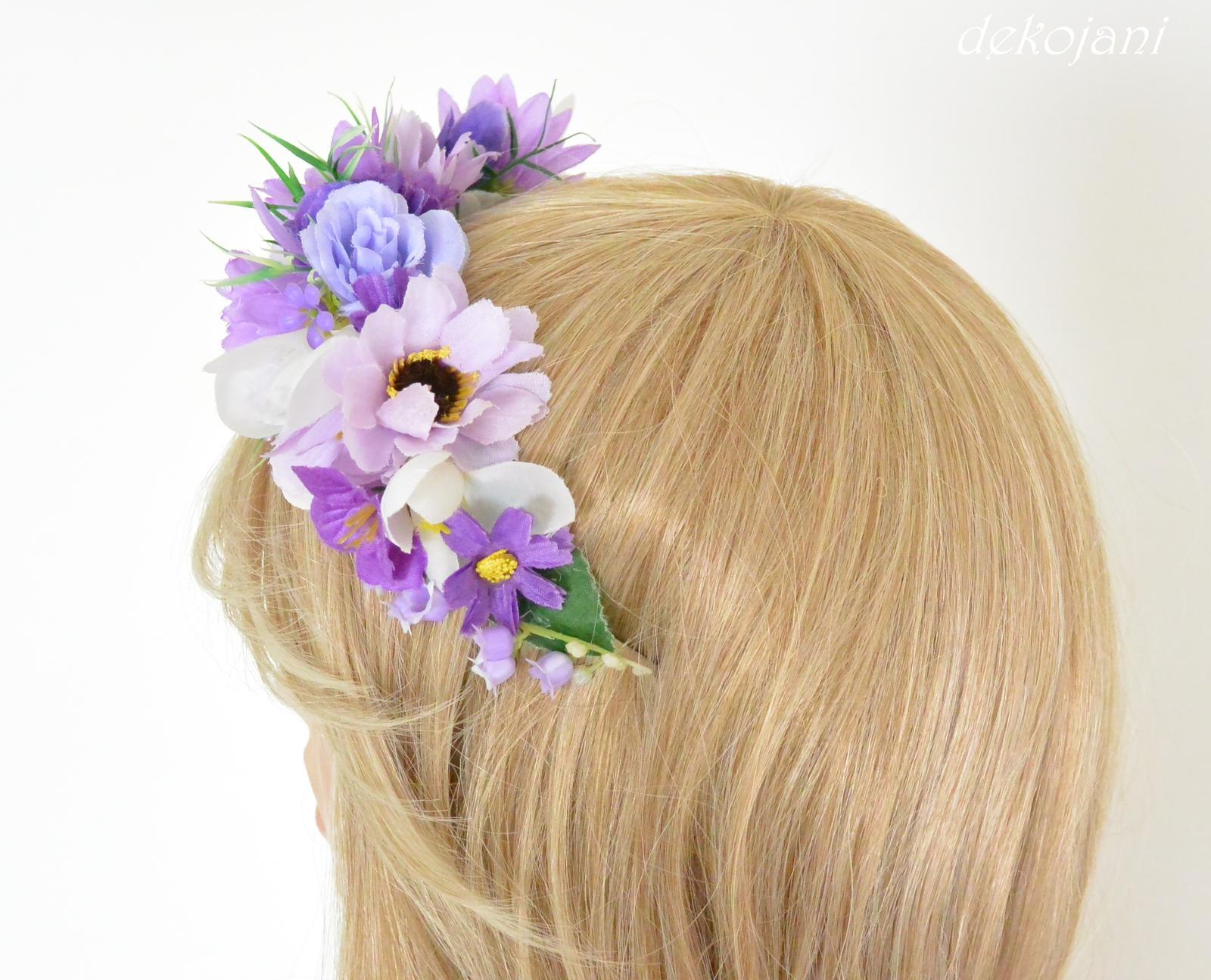 Fialová květinová svatební čelenka - Obrázek č. 2