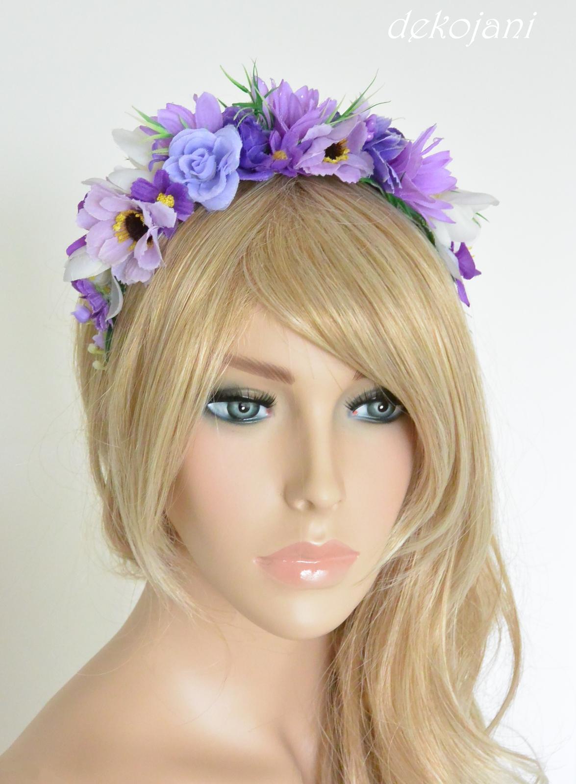 Fialová květinová svatební čelenka - Obrázek č. 1