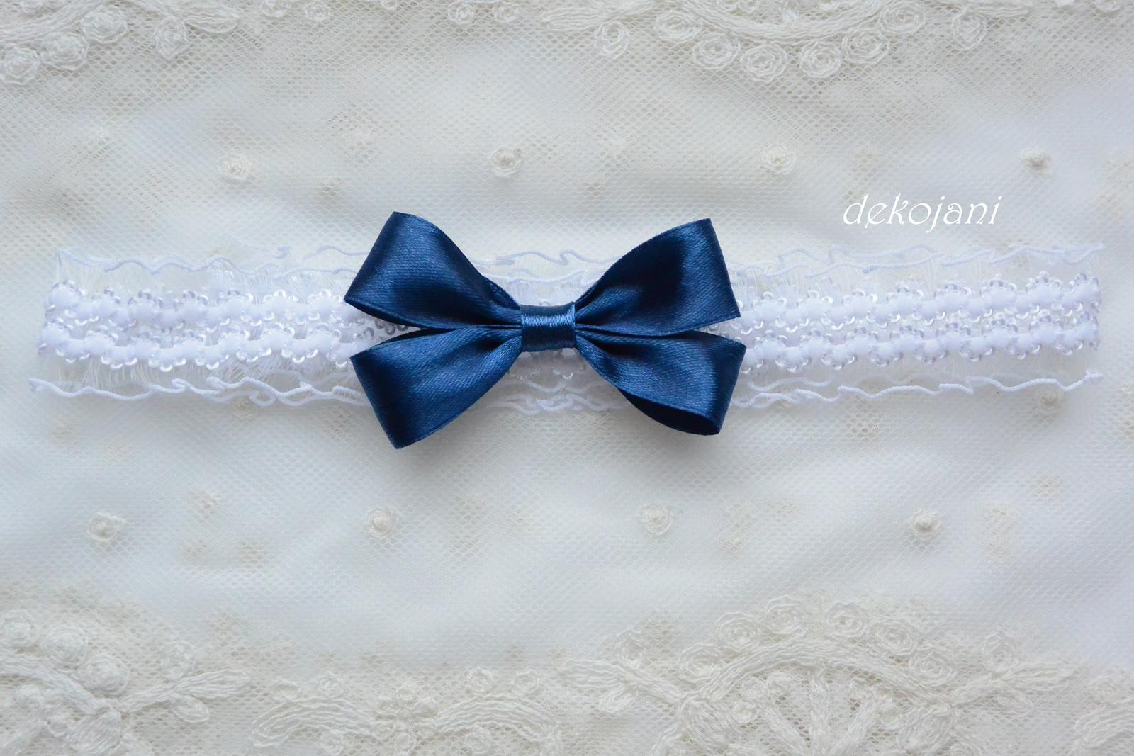 Krajkový podvazek s námořnicky modrou mašlí - Obrázek č. 2