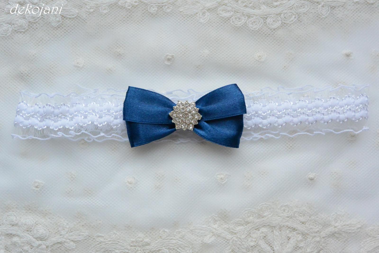 Krajkový podvazek s námořnicky modrou mašlí - Obrázek č. 4
