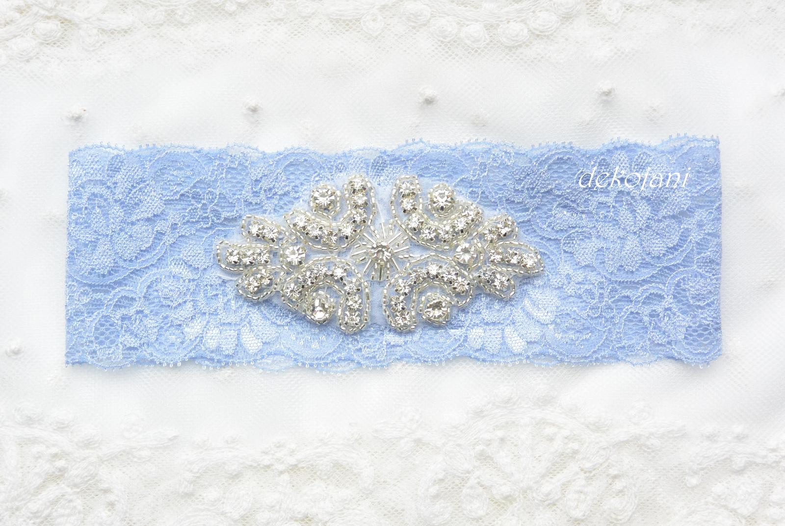 Luxusní krajkový svatební podvazek - Obrázek č. 1