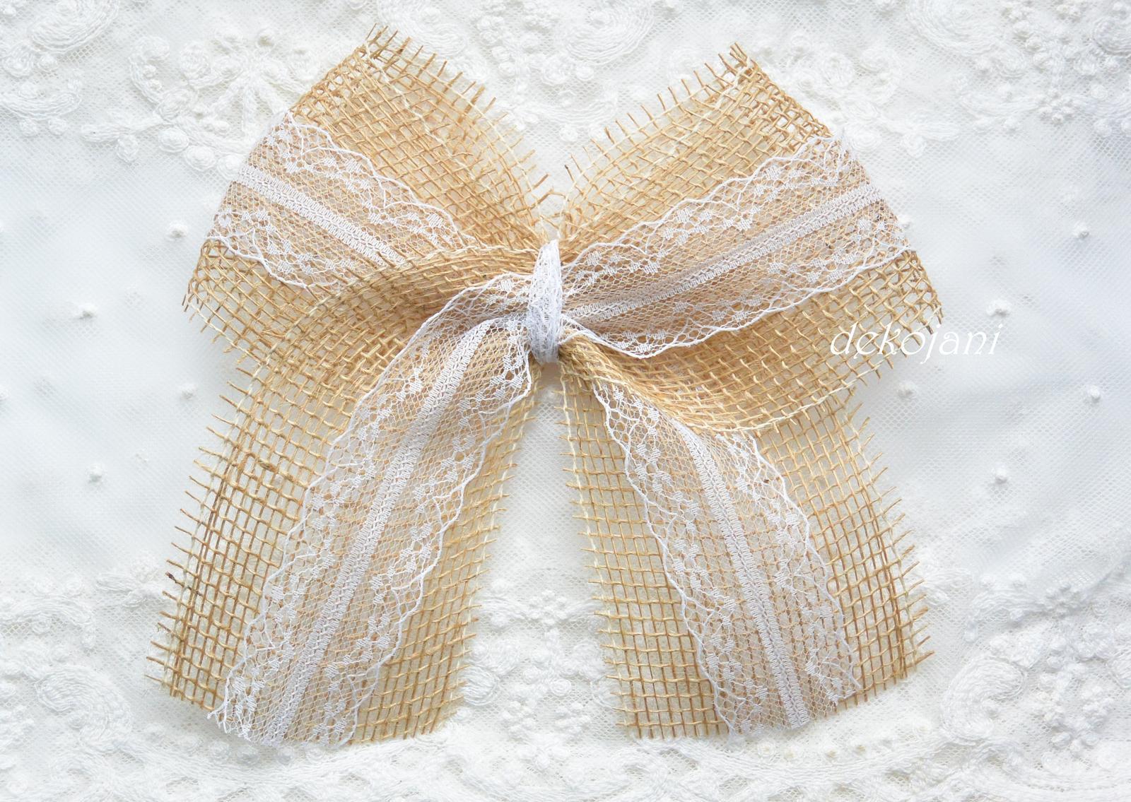 Jutové svatební mašle s krajkou - Obrázek č. 1