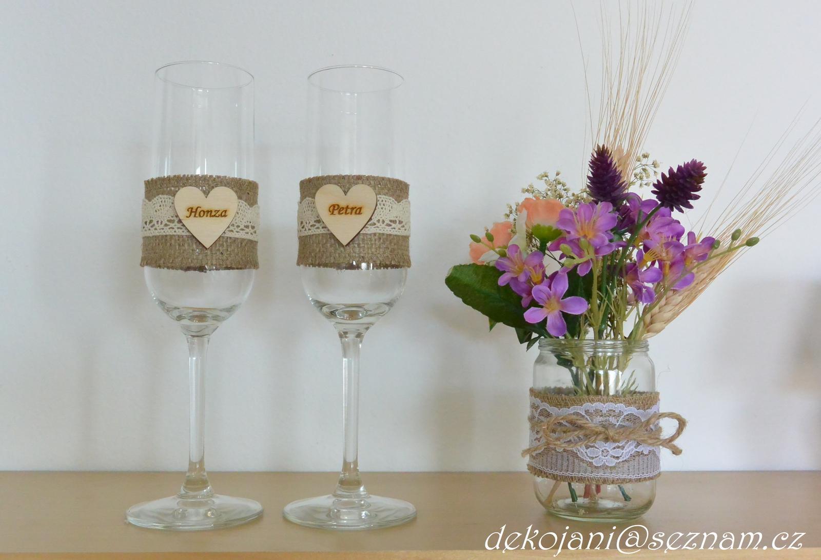 Jutové svatební skleničky  - Obrázek č. 1