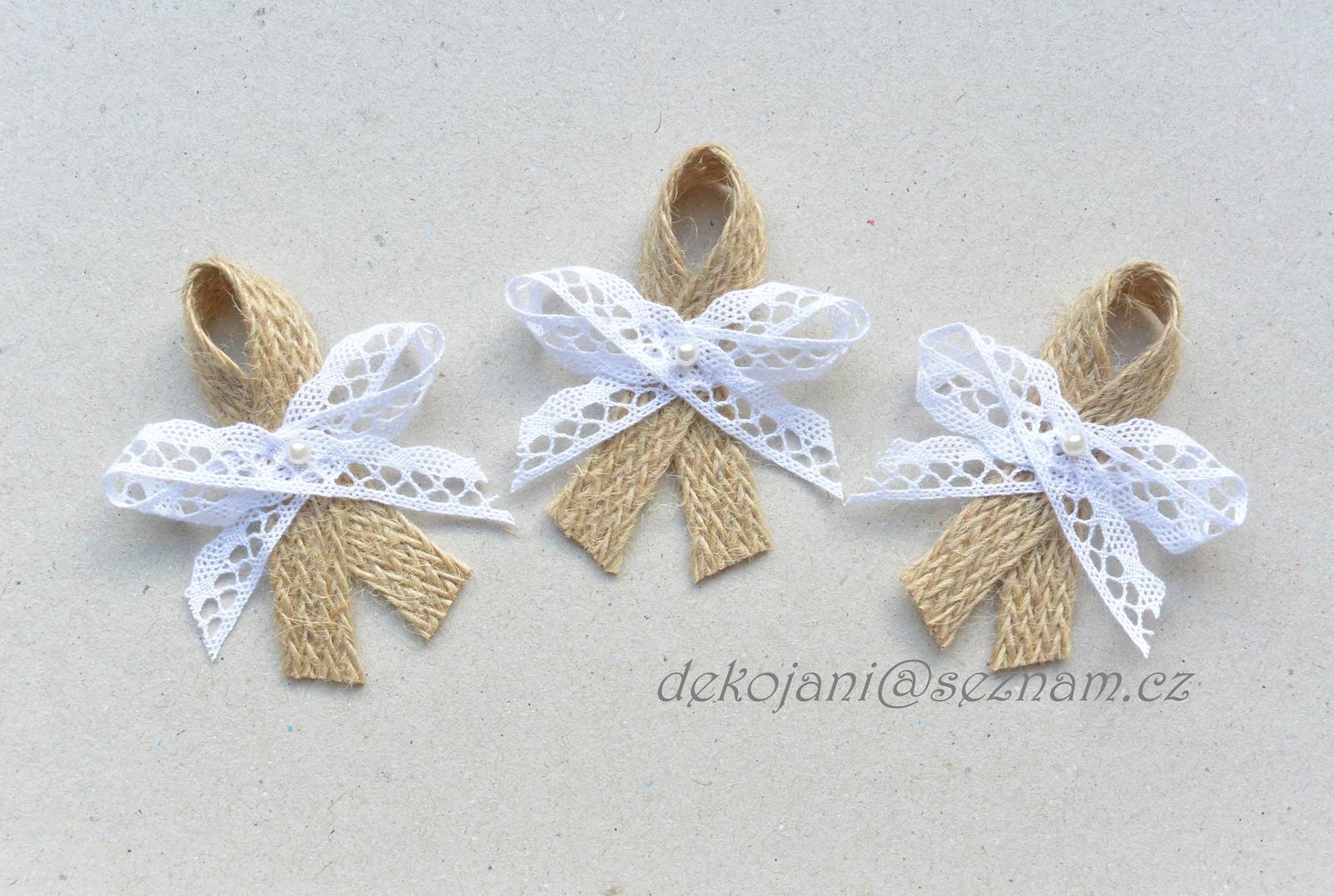 Přírodní / rustikální vývazky - juta a bílá krajka - Obrázek č. 1