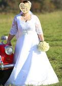 Svadobné šaty+vesta ženích, 46