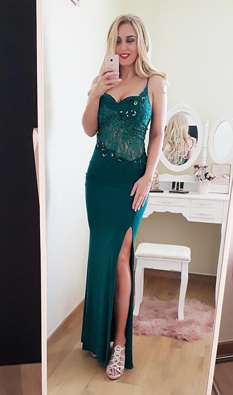 Spoločenské šaty smaragdovozelenej farby - Obrázok č. 1