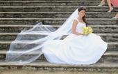 Bílé svatební šaty s vlečkou na ramínka White One, 38