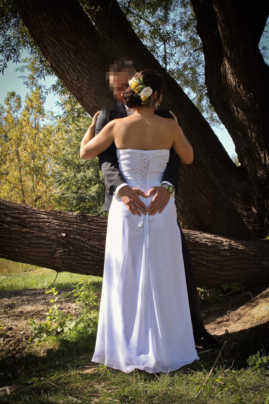 Svadobné šaty, korzetove, biele, 36-38 - Obrázok č. 4