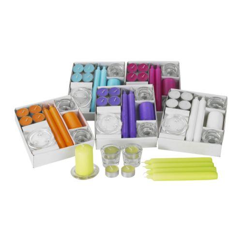Inspirace - Ikea - sada za 99 Kč - Obsahuje: 1 misku na svíčku (průměr 8 cm), 2 svícny (průměr 6 cm, výška 4,6 cm), 4 svíčky (výška 19 cm, doba hoření 6 h), 1 svíčku (výška 7,5 cm, doba hoření 10 h), 8 čajových svíček (doba hoření 3,5 h).