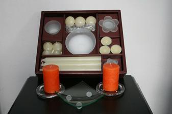 koupené svíčky   skleněný talířek na prstýnky