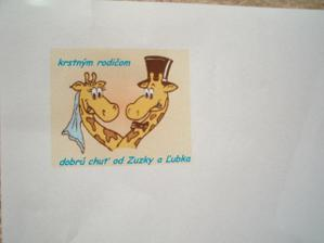 žirafy sme mali aj na výslužkách s koláčmi pre hostí