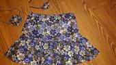 Lesklá modrá kvetová sukňa s doplnkami, 134