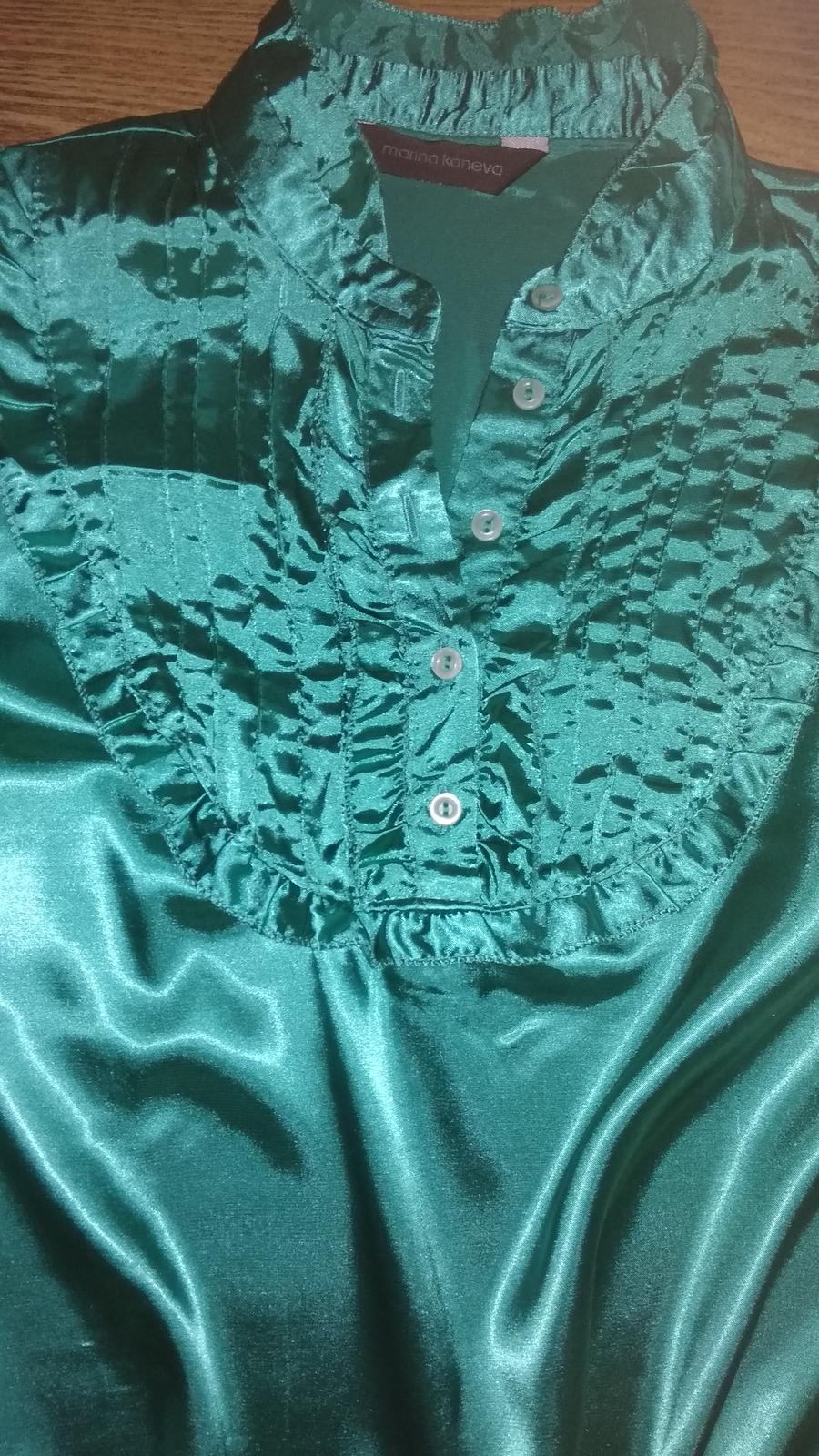 Zelená saténová blúzka 158-164 - Obrázok č. 2