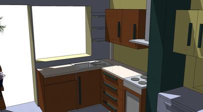 poličky vedla okna nebudu, bude tam rohova skrinka...a začiatok spodných skriniek bude trošku skoseny