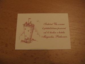 Pozvání na odpolední svatební oslavu: obrázek, který je ústředním motivem na oznámení a pozvánkách, nám na základě našeho přání nakreslila ženichova babička.