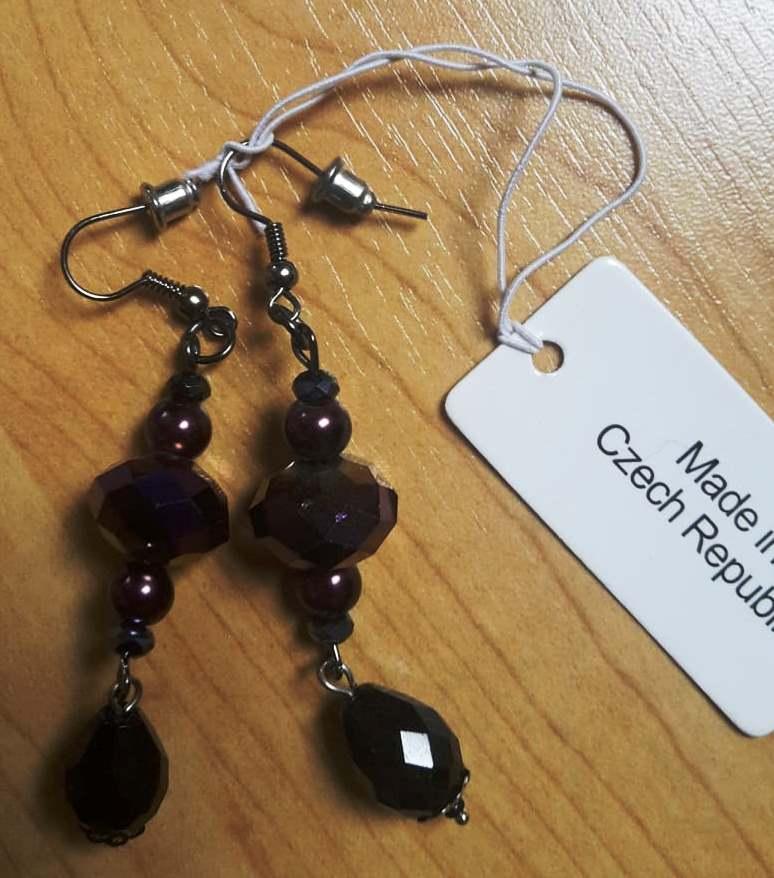 Náušnice s fialovými kamínky  - Obrázek č. 1