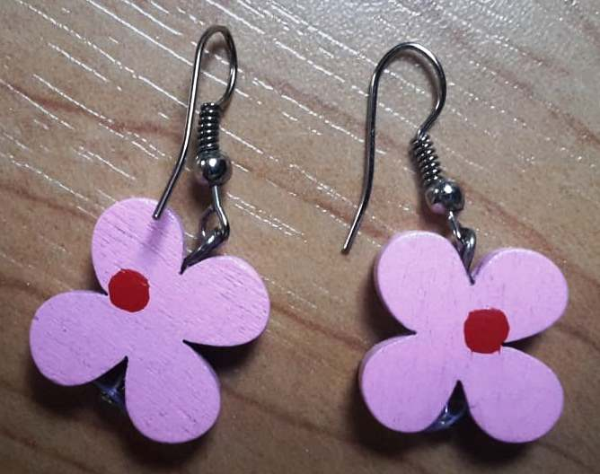 Náušnice Růžové kytičky  - Obrázek č. 1