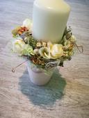 Sviečka v keramickom kvetináči ,