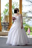 Saténové svatební šaty s krajkou , 42