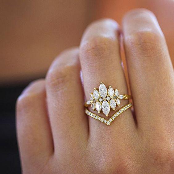 Super nápad na kombinaci zásnubního a snubního prstýnku. - Obrázek č. 10
