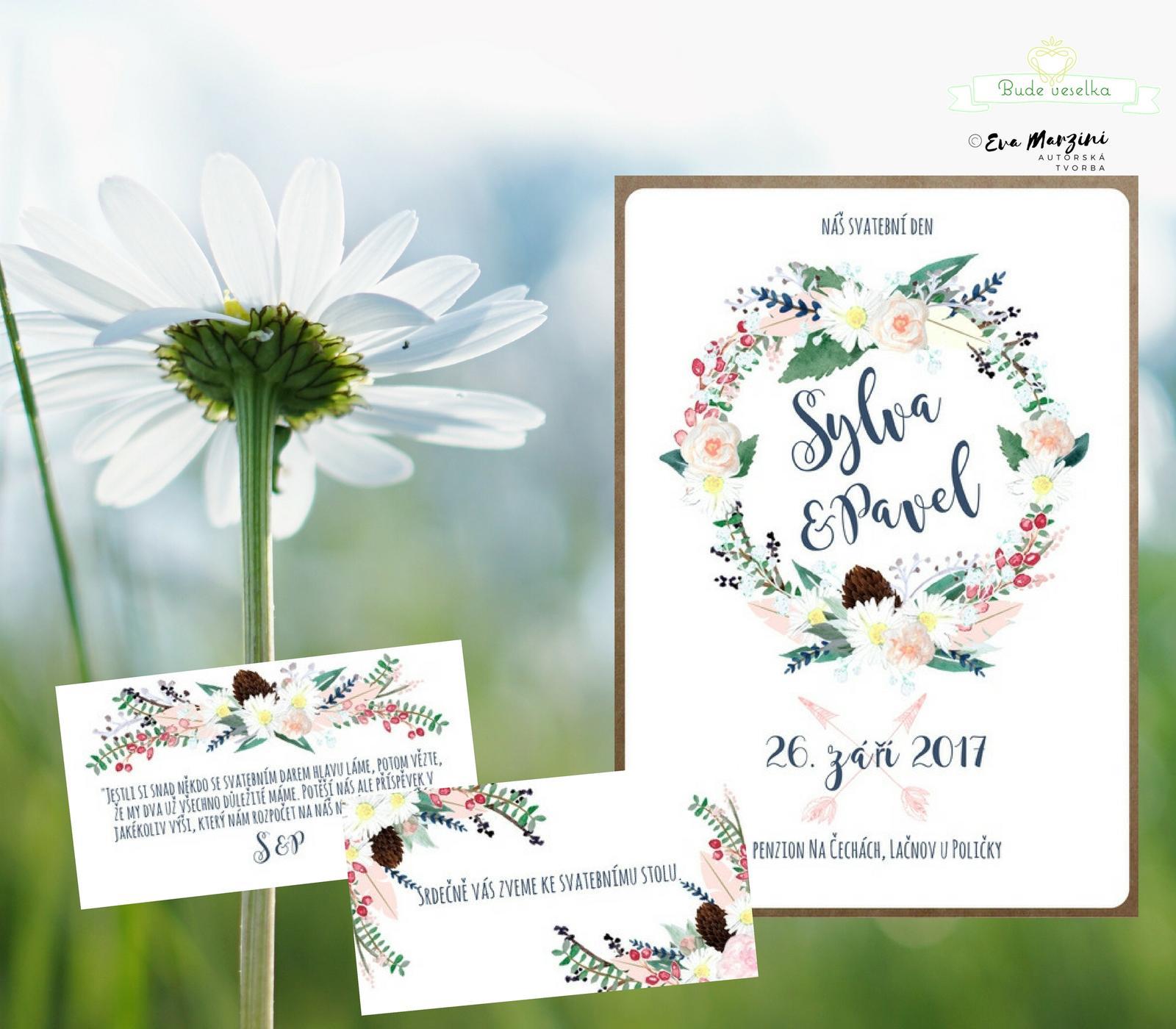 Svatební oznámení s Boho věnečkem - Obrázek č. 2