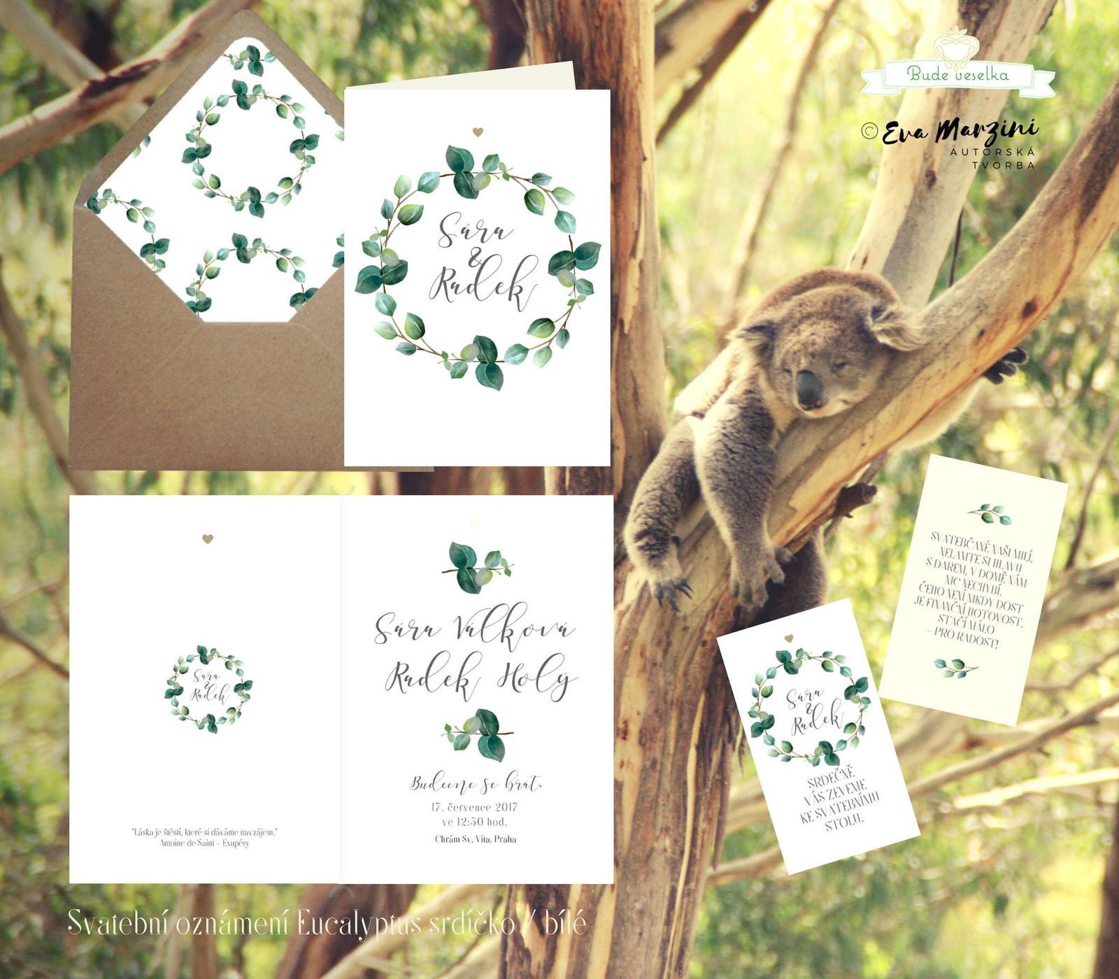 Oznámení Eucalyptus, bílé vintage, Budeveselka.cz - Obrázek č. 1