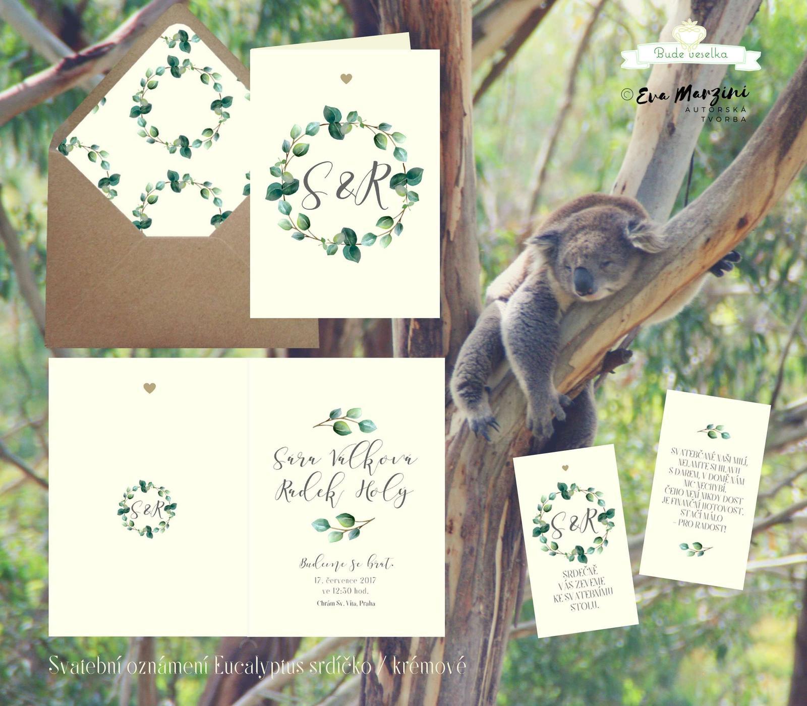 Oznámení Eucalyptus, ivory rustik, Budeveselka.cz - Obrázek č. 1