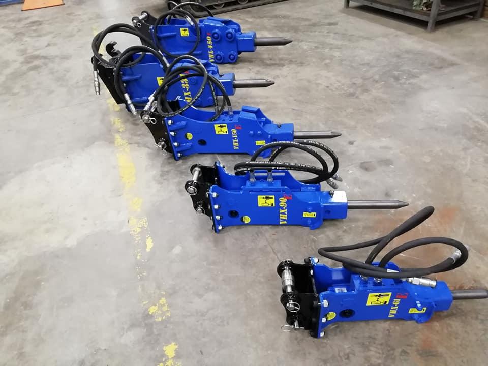 Hydraulické kladivá od Talianskaho výrobcu VISTARINI určené pre minibagre od 0,5 do 10t - Obrázok č. 1