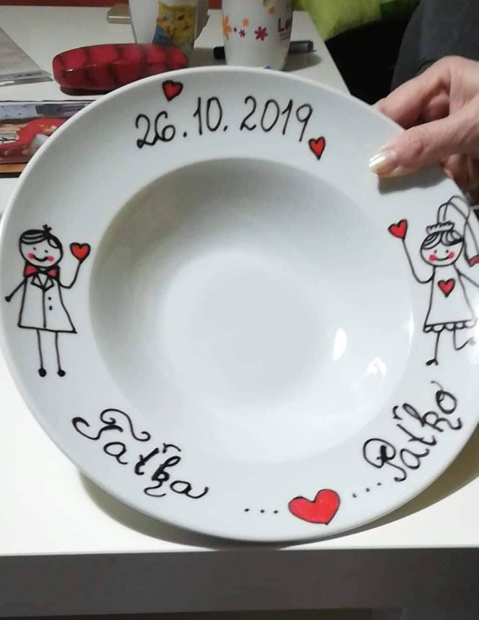 Plánovanie toho nášho najkrajšieho DŇA  :-) - Náš svadobný tanier na polievku (vyrábala som si ho sama)