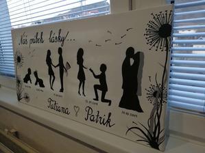 Náš príbeh lásky :-) Použijeme ho aj na svadbu, niekde kde sa bude hodiť. Bol ručne maľovaný kamarátkou