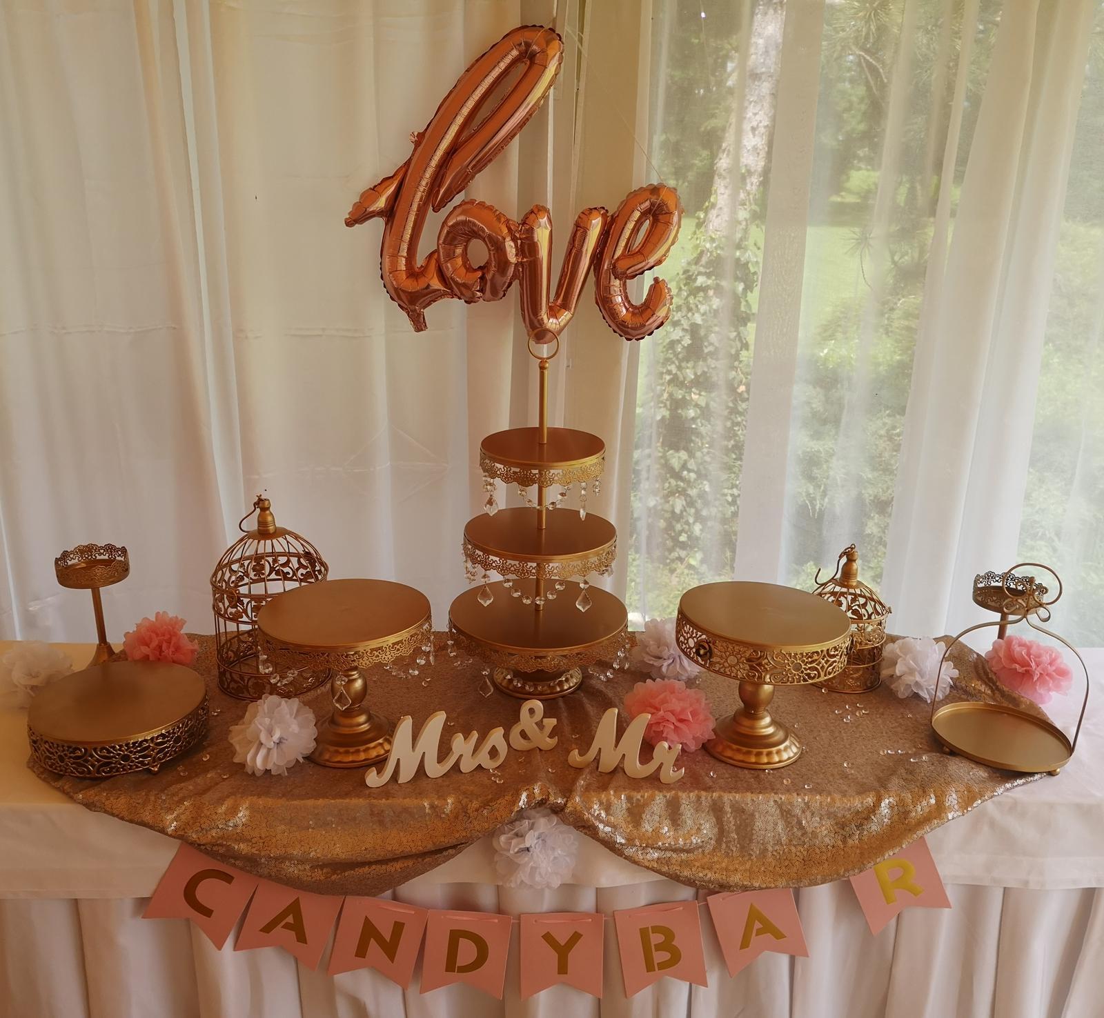 Prenájom svadobnej výzdoby, ružovo - zlatá - Obrázok č. 1