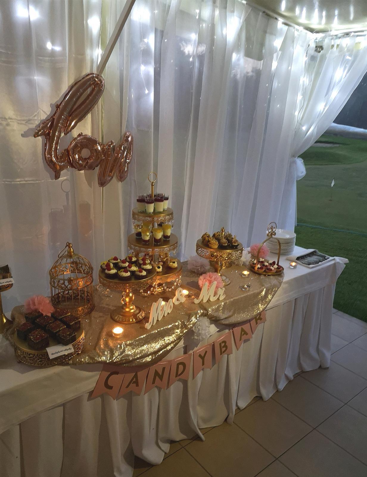 Prenájom svadobnej výzdoby, ružovo - zlatá - Obrázok č. 2