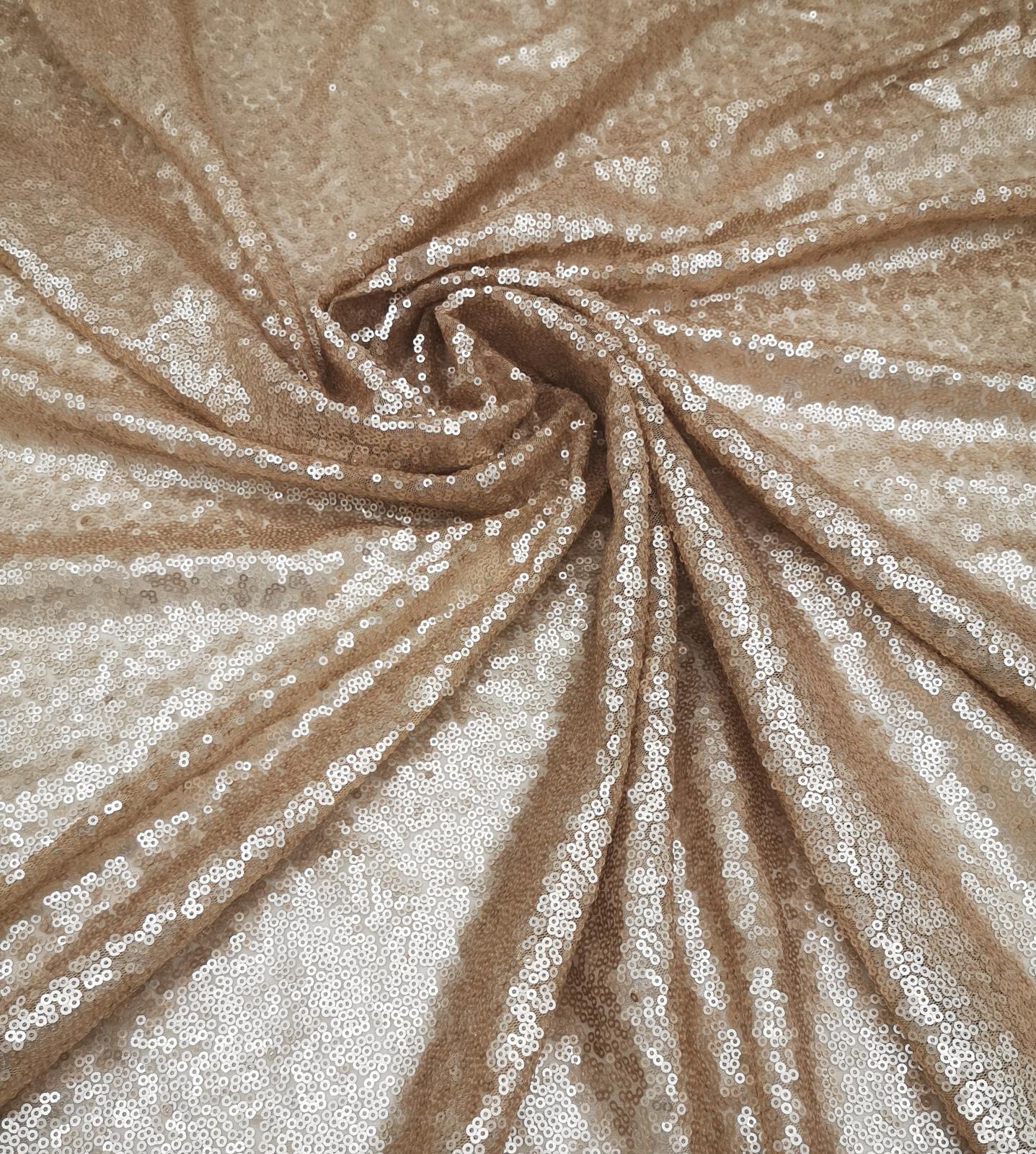 Prenájom - Flitrovaný obrus champagne 120 x 180 cm - Obrázok č. 1