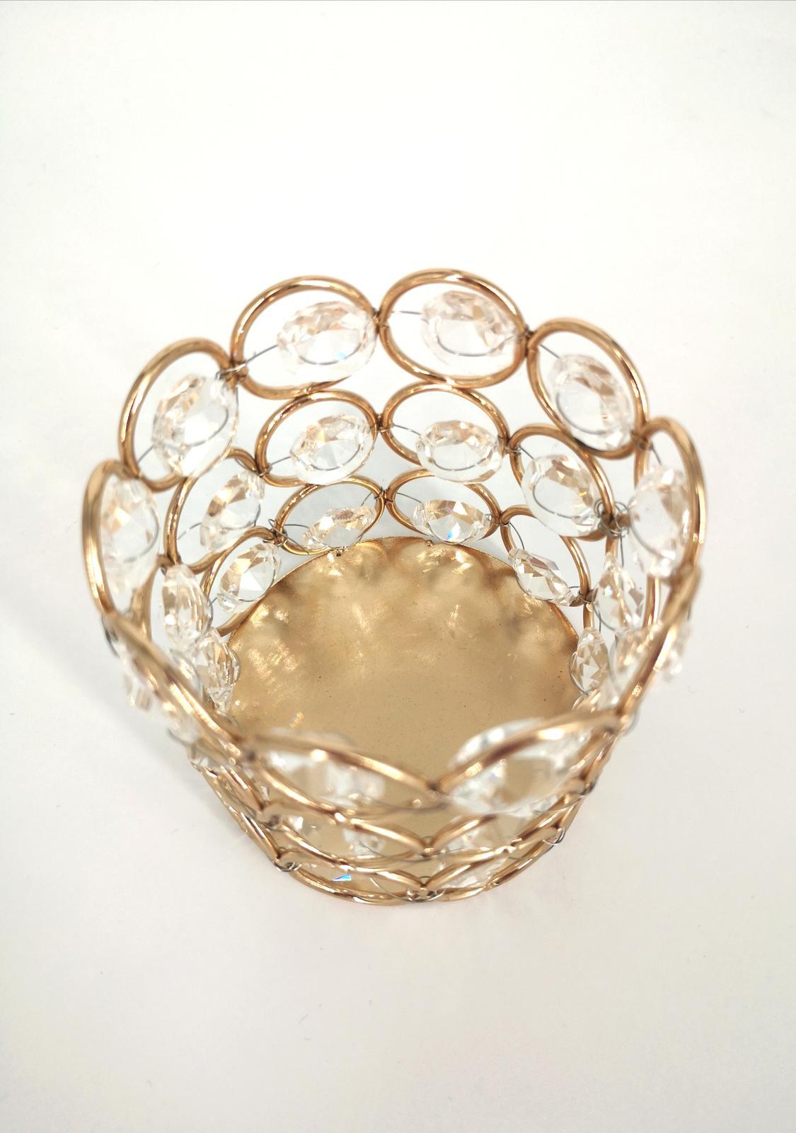 Prenájom - Svietnik s kryštálmi malý, zlatý  - Obrázok č. 2