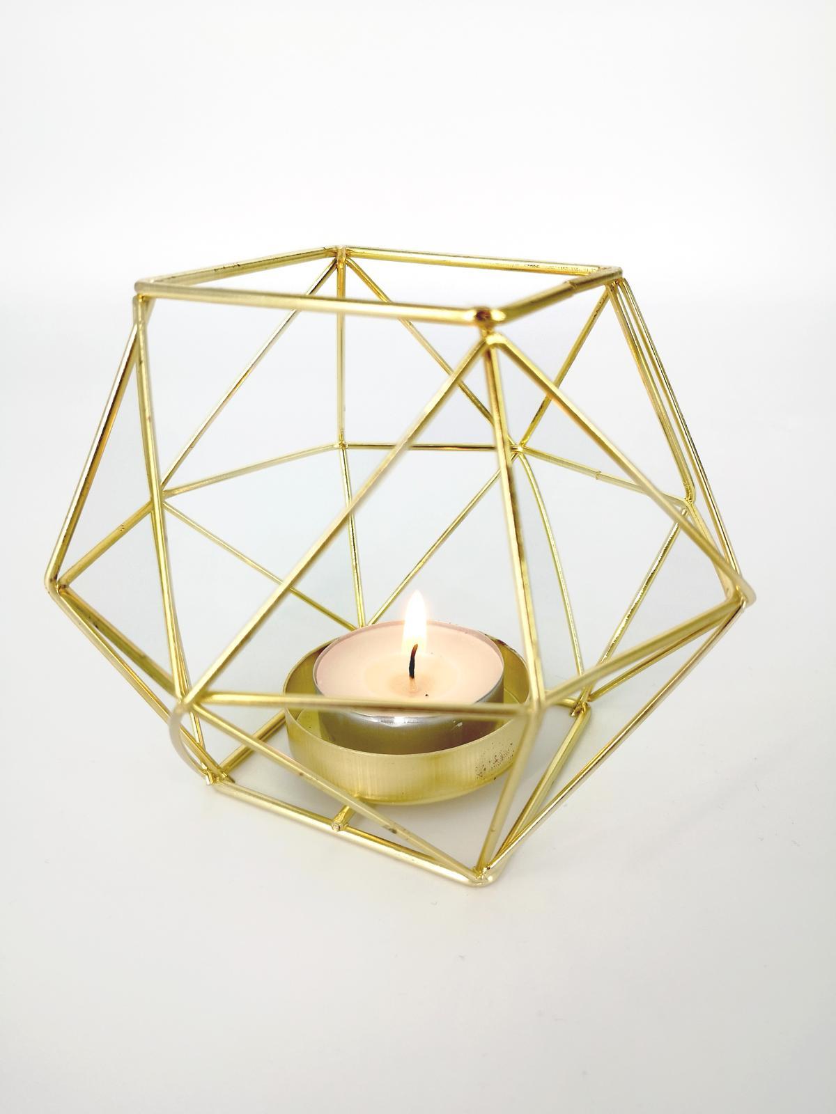 Prenájom - Zlatý svietnik na čajovú sviečku - Obrázok č. 1