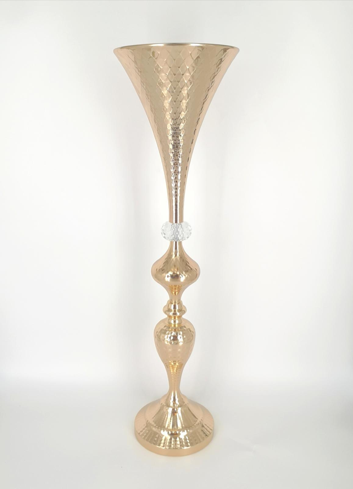 Prenájom - Zlatá kovová váza 65 cm - Obrázok č. 1