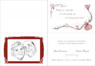 Kompletní svatební oznámení, vytištěné na metalickém papíře