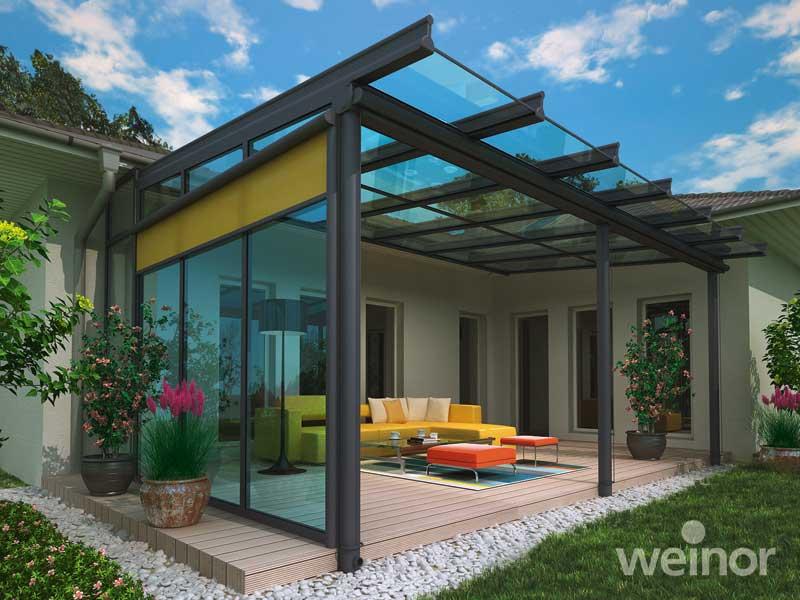 Riešenia od Weinor - Samozrejmosťou je možnosť tienenia tak sklenej strechy, ako aj zvislých strán.