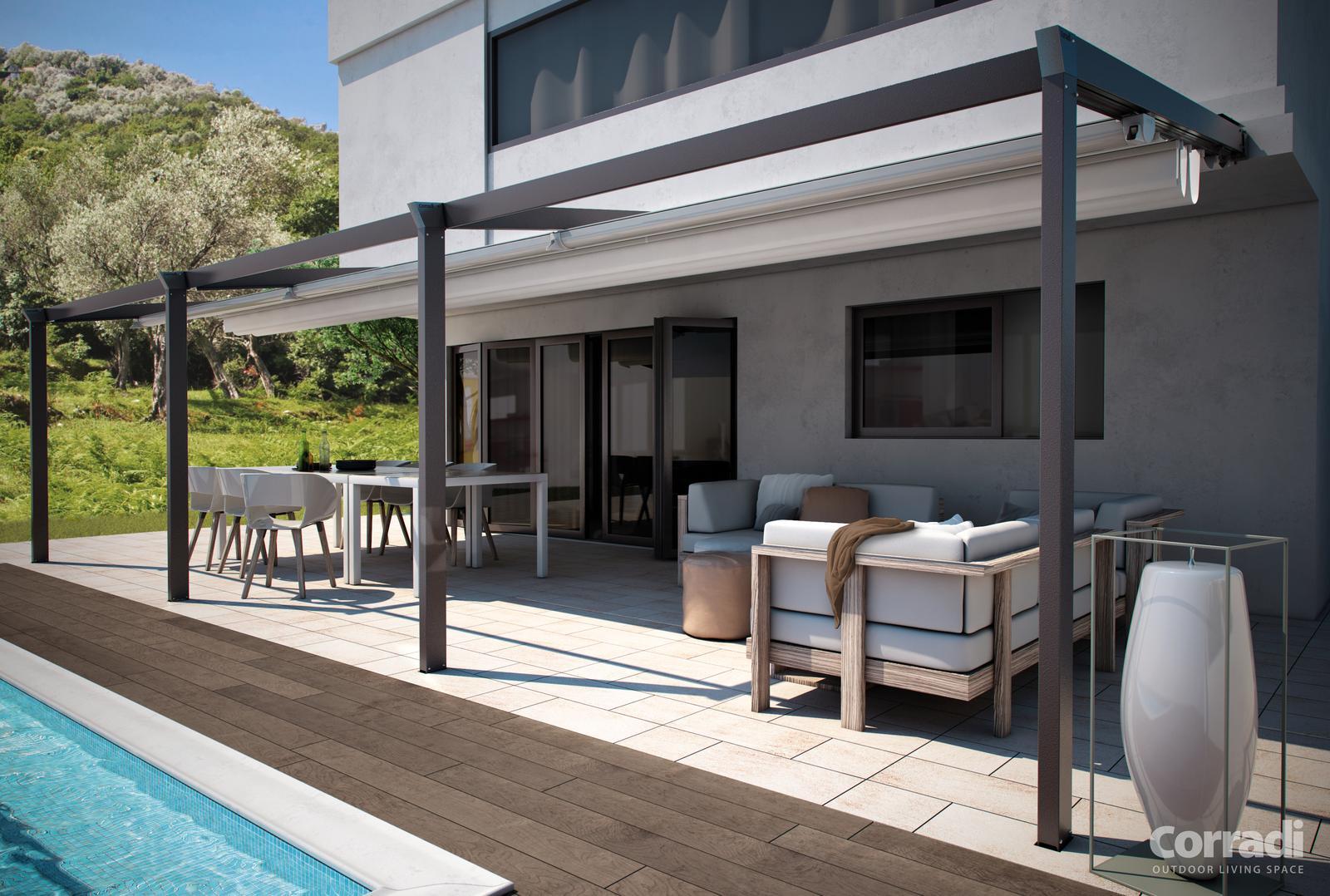 Pergola - Pergotenda Palladia - Elegantné zatienenie terasy s vysokou odolnosťou voči vetru a integrovaným odkvapovým systémom.