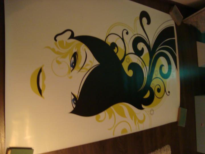 Rekonstrukce pracovna, loznice, obyvka, hala, detsky - priprava dekorace na zed v obyvke:), asi jsem to objednali mooooc velke, no uvidime:D