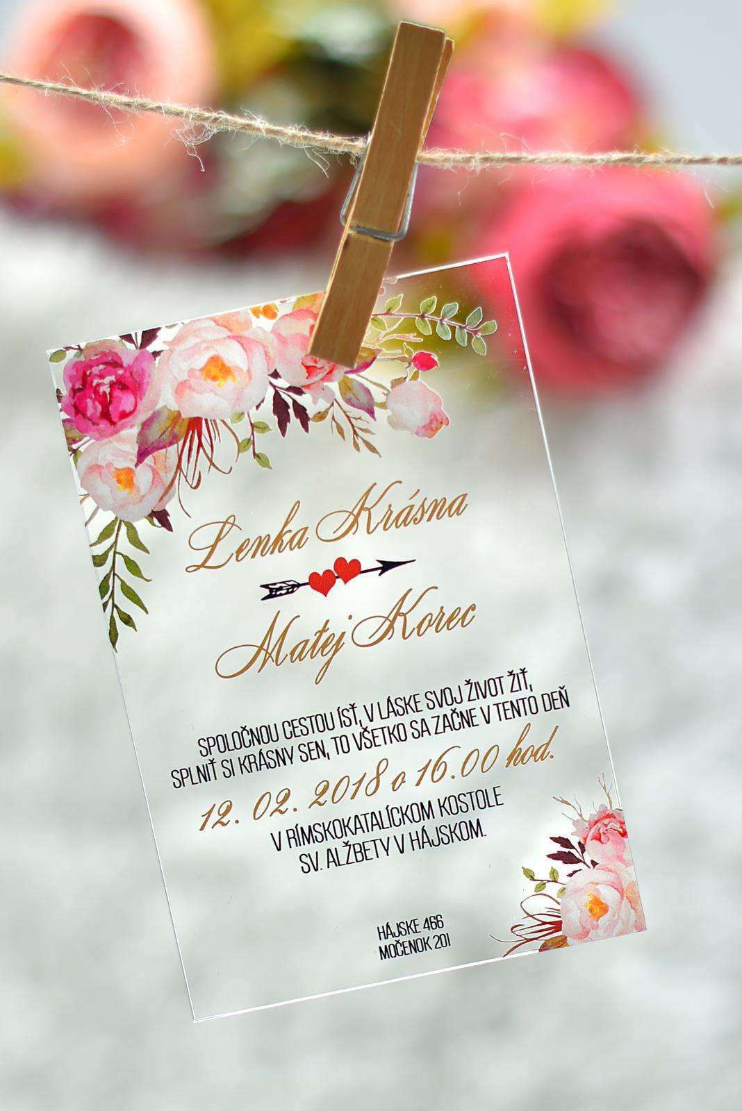 Transparentné svadobné oznámenia - Obrázok č. 1