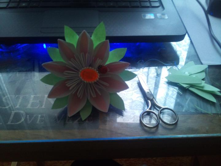 Kvetinky - prva papierova kvetinka je hotova...