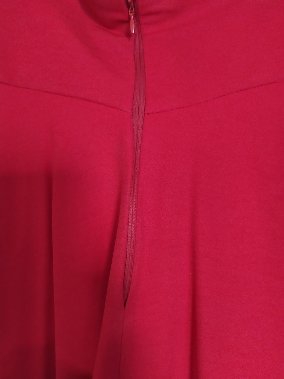 Dlhá červená sukňa s vysokým pásom - Obrázok č. 1