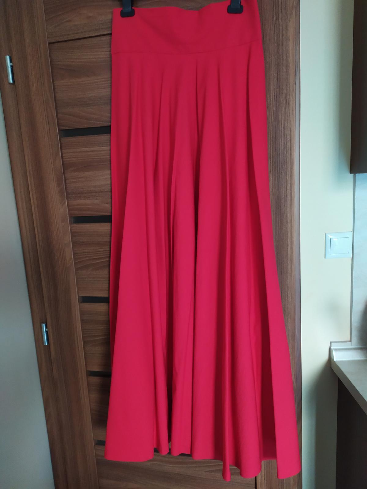 Dlhá červená sukňa s vysokým pásom - Obrázok č. 3