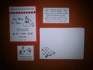 Vše připraveno - oznámení, pozvánky na hostinu, prosba o peněžní dar (stará verze) a natisknuté obálky.