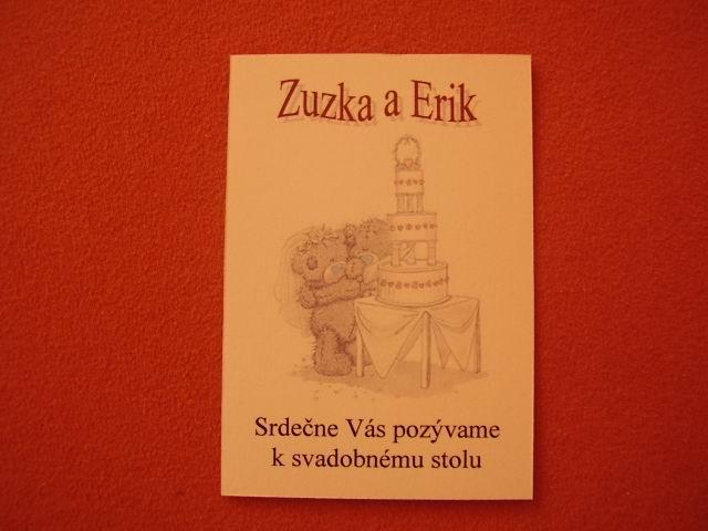 Zuzka a Erik - Hotové sú už aj pozvánky k svadobnému stolu...