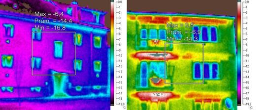 zateplena tehlova bytovka vs. nezateplena tehlova bytovka - vysoky kontrast