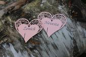 """Svadobné menovky s potlačou """"heart"""","""